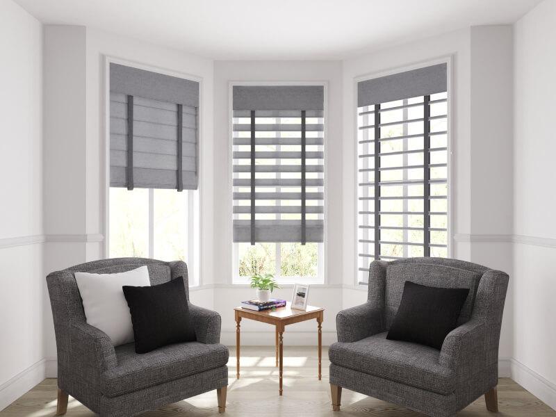 Fabric rolling venetian blinds
