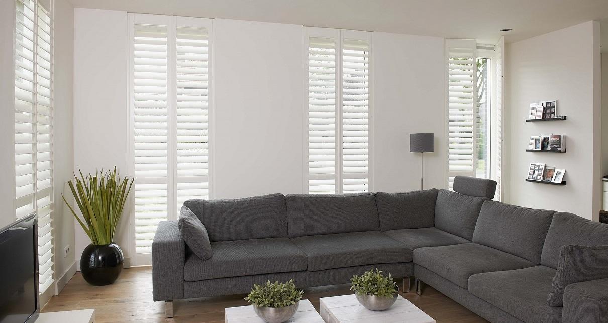 White wooden Living room Shutters