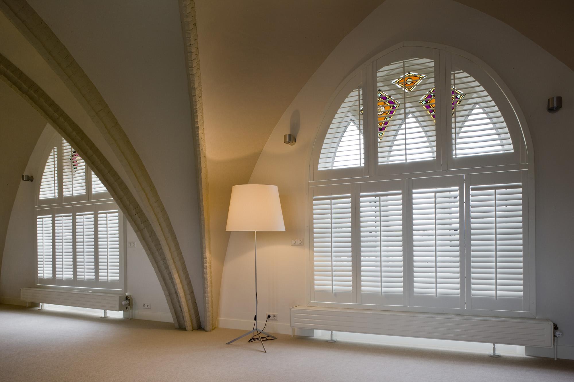 Triangle windows photos supplying wooden window shutters for - Special Shape Window Shutters